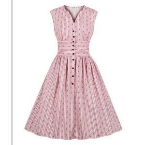 Pink Striped Floral Button Front Dress